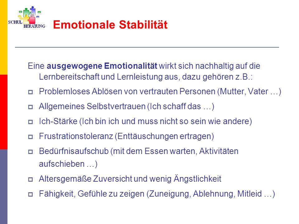 Emotionale Stabilität Eine ausgewogene Emotionalität wirkt sich nachhaltig auf die Lernbereitschaft und Lernleistung aus, dazu gehören z.B.: Problemlo