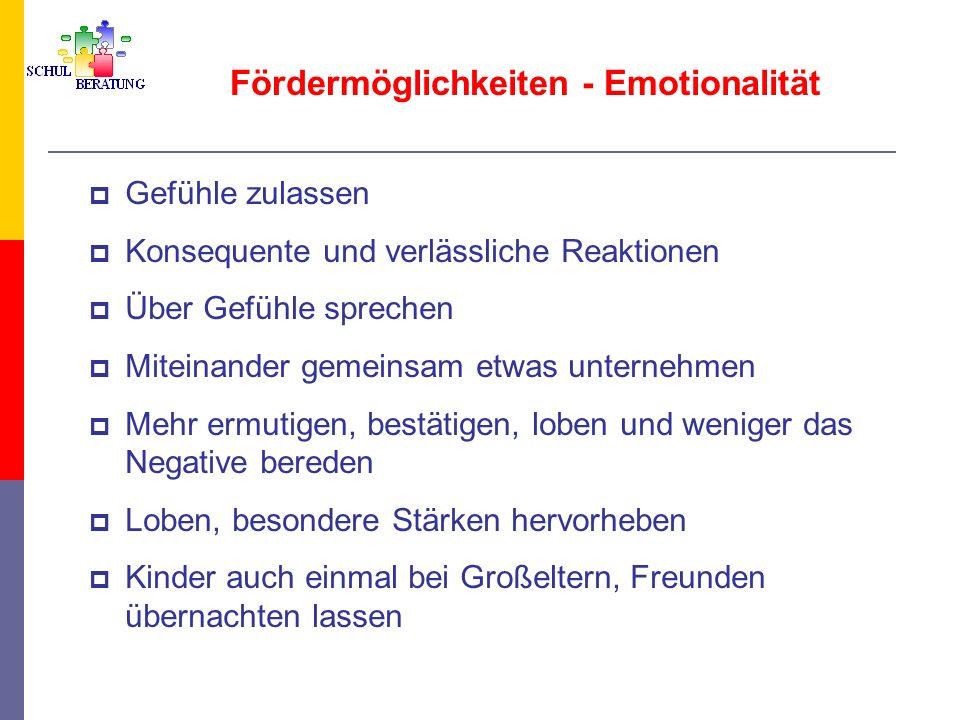Fördermöglichkeiten - Emotionalität Gefühle zulassen Konsequente und verlässliche Reaktionen Über Gefühle sprechen Miteinander gemeinsam etwas unterne