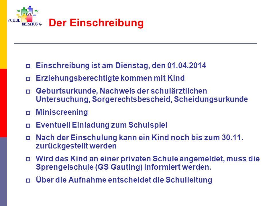 Der Einschreibung Einschreibung ist am Dienstag, den 01.04.2014 Erziehungsberechtigte kommen mit Kind Geburtsurkunde, Nachweis der schulärztlichen Unt