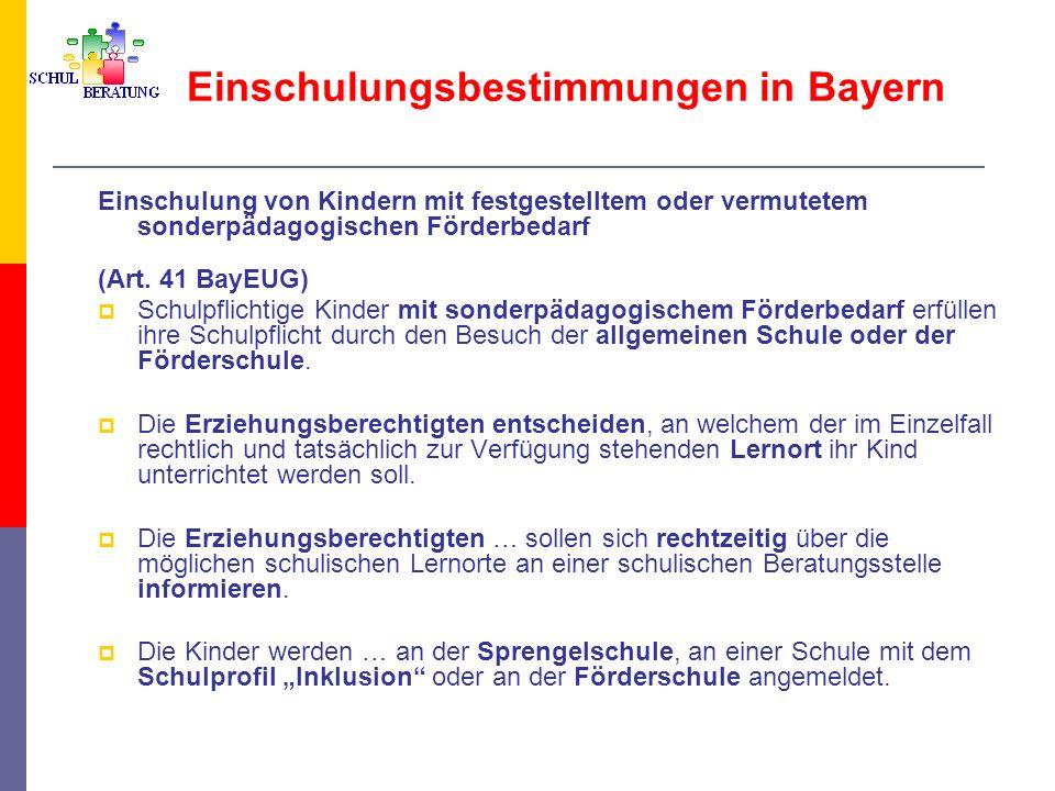 Einschulungsbestimmungen in Bayern Einschulung von Kindern mit festgestelltem oder vermutetem sonderpädagogischen Förderbedarf Die Aufnahme an der Förderschule setzt die Erstellung eines sonderpädagogischen Gutachtens voraus.