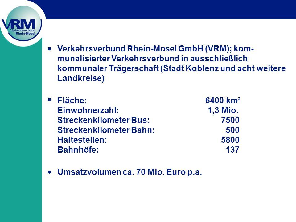 Verkehrsverbund Rhein-Mosel GmbH (VRM); kom- munalisierter Verkehrsverbund in ausschließlich kommunaler Trägerschaft (Stadt Koblenz und acht weitere Landkreise) Fläche: 6400 km² Einwohnerzahl: 1,3 Mio.