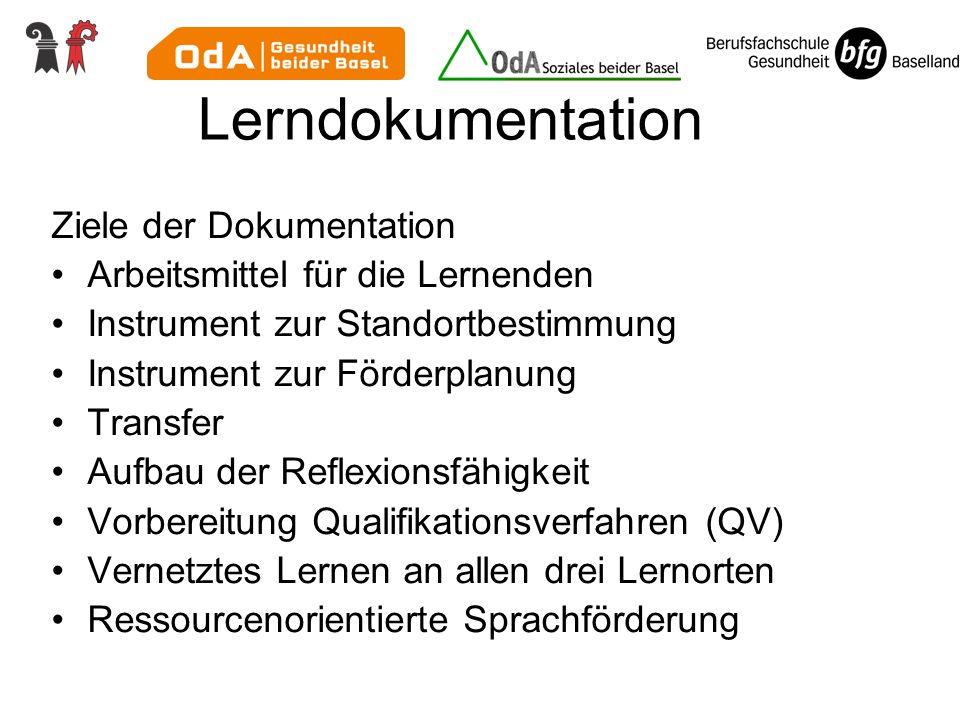 Lerndokumentation Ziele der Dokumentation Arbeitsmittel für die Lernenden Instrument zur Standortbestimmung Instrument zur Förderplanung Transfer Aufb