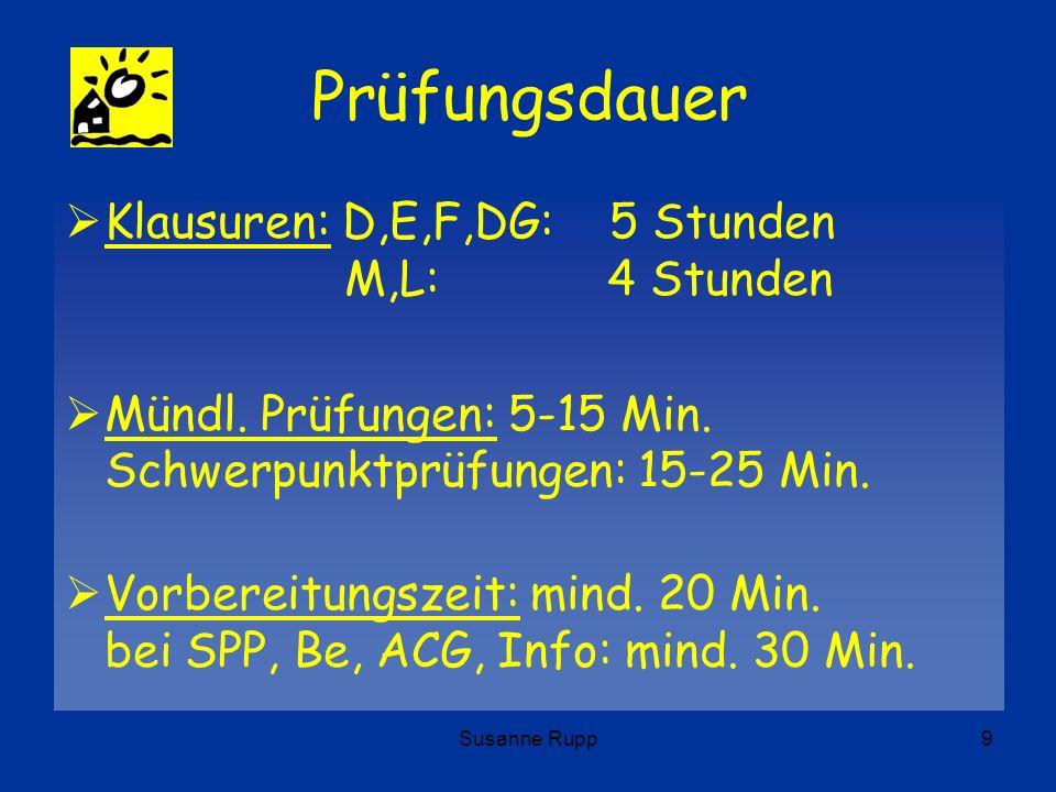 Susanne Rupp9 Prüfungsdauer Klausuren: D,E,F,DG: 5 Stunden M,L: 4 Stunden Mündl. Prüfungen: 5-15 Min. Schwerpunktprüfungen: 15-25 Min. Vorbereitungsze