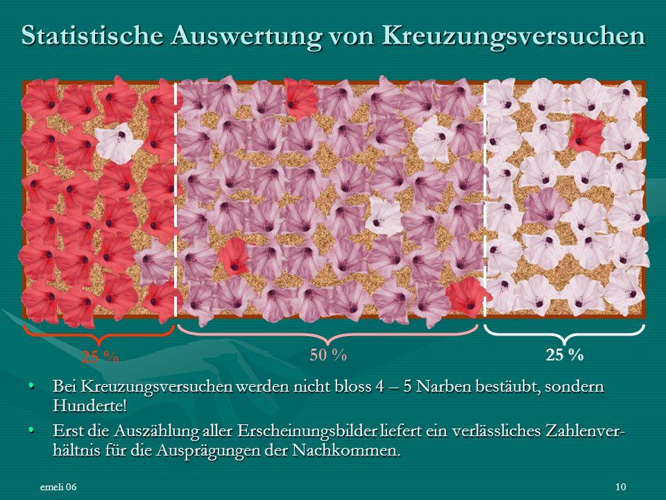 emeli 0610 Statistische Auswertung von Kreuzungsversuchen Bei Kreuzungsversuchen werden nicht bloss 4 – 5 Narben bestäubt, sondern Hunderte!Bei Kreuzu
