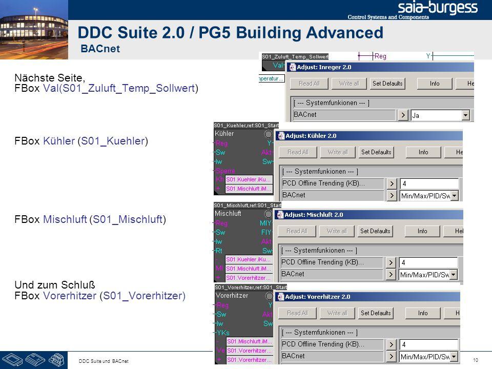 10 DDC Suite und BACnet DDC Suite 2.0 / PG5 Building Advanced BACnet Nächste Seite, FBox Val(S01_Zuluft_Temp_Sollwert) FBox Kühler (S01_Kuehler) FBox
