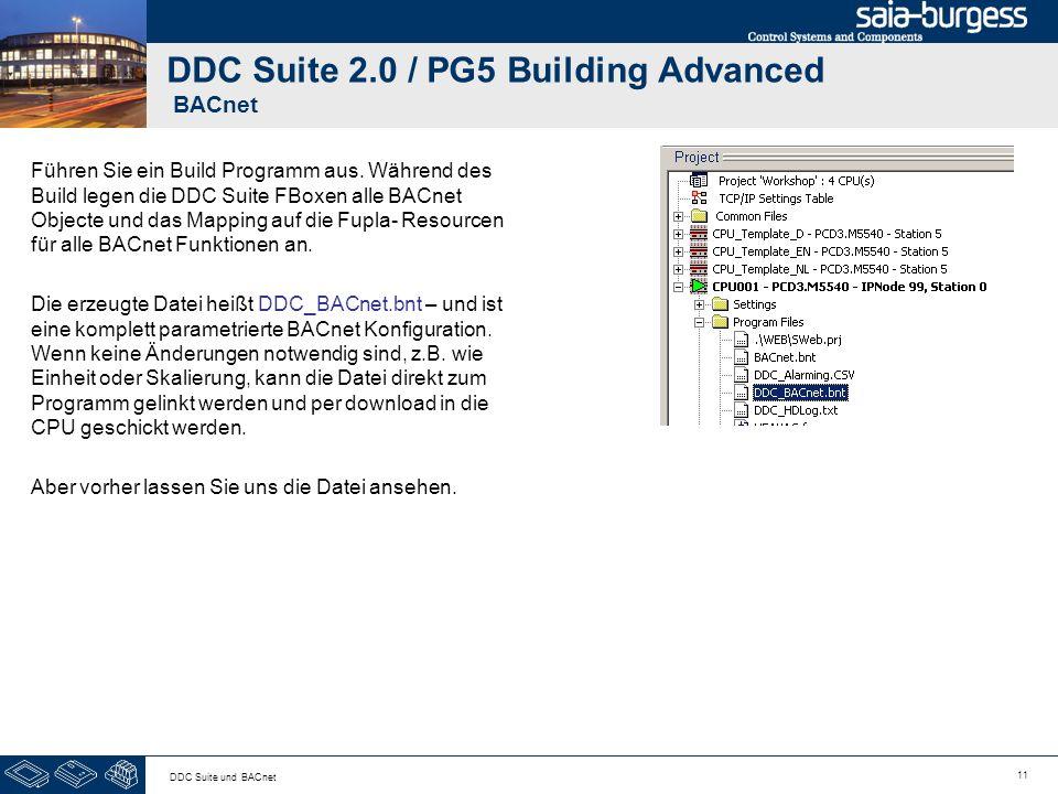 11 DDC Suite und BACnet DDC Suite 2.0 / PG5 Building Advanced BACnet Führen Sie ein Build Programm aus. Während des Build legen die DDC Suite FBoxen a