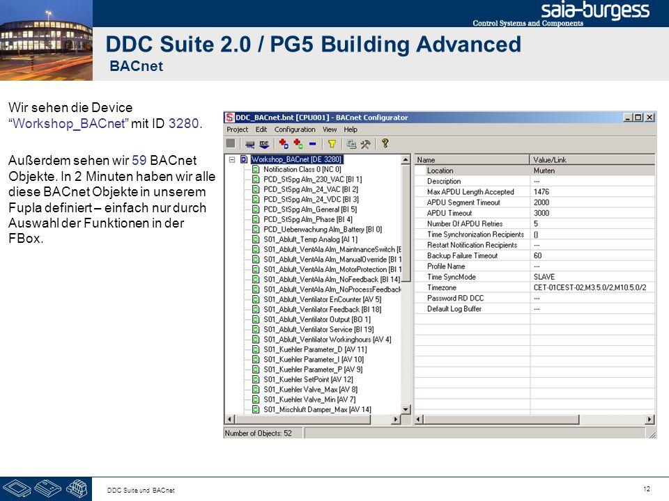 12 DDC Suite und BACnet DDC Suite 2.0 / PG5 Building Advanced BACnet Wir sehen die DeviceWorkshop_BACnet mit ID 3280. Außerdem sehen wir 59 BACnet Obj