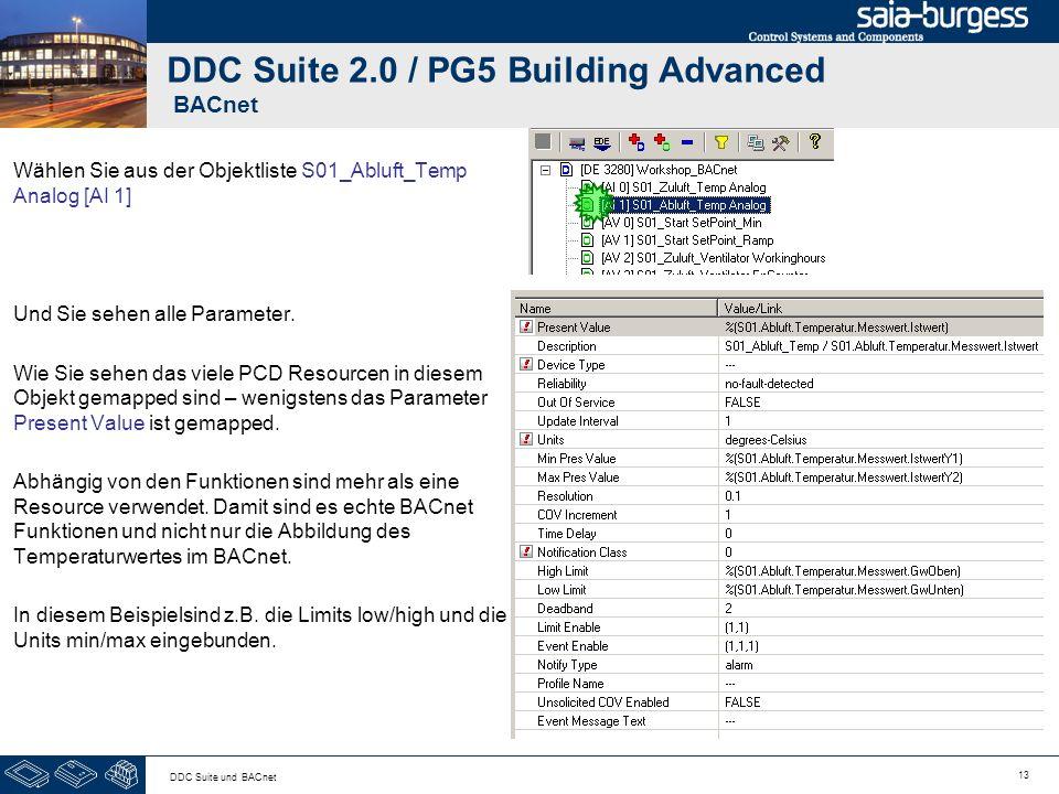 13 DDC Suite und BACnet DDC Suite 2.0 / PG5 Building Advanced BACnet Wählen Sie aus der Objektliste S01_Abluft_Temp Analog [AI 1] Und Sie sehen alle P
