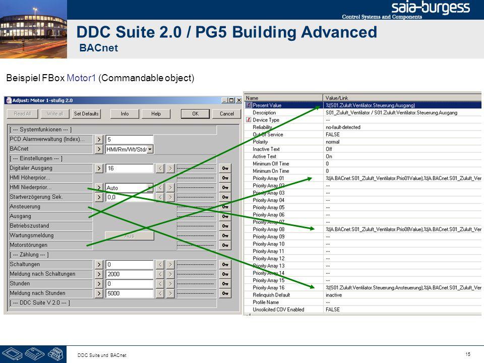 15 DDC Suite und BACnet DDC Suite 2.0 / PG5 Building Advanced BACnet Beispiel FBox Motor1 (Commandable object)