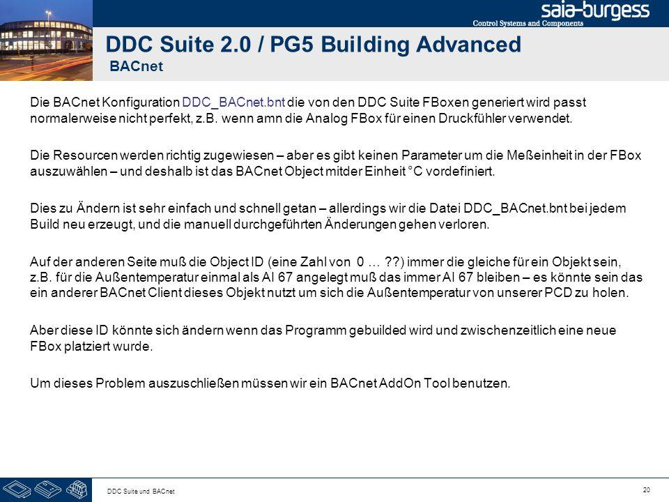20 DDC Suite und BACnet DDC Suite 2.0 / PG5 Building Advanced BACnet Die BACnet Konfiguration DDC_BACnet.bnt die von den DDC Suite FBoxen generiert wi
