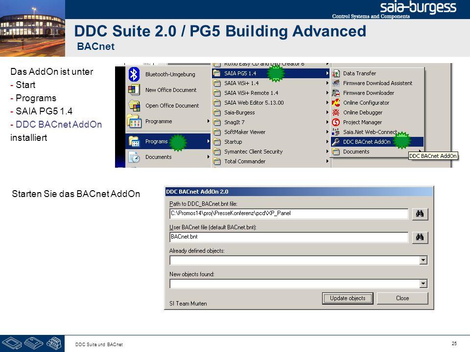 25 DDC Suite und BACnet DDC Suite 2.0 / PG5 Building Advanced BACnet Das AddOn ist unter - Start - Programs - SAIA PG5 1.4 - DDC BACnet AddOn installi