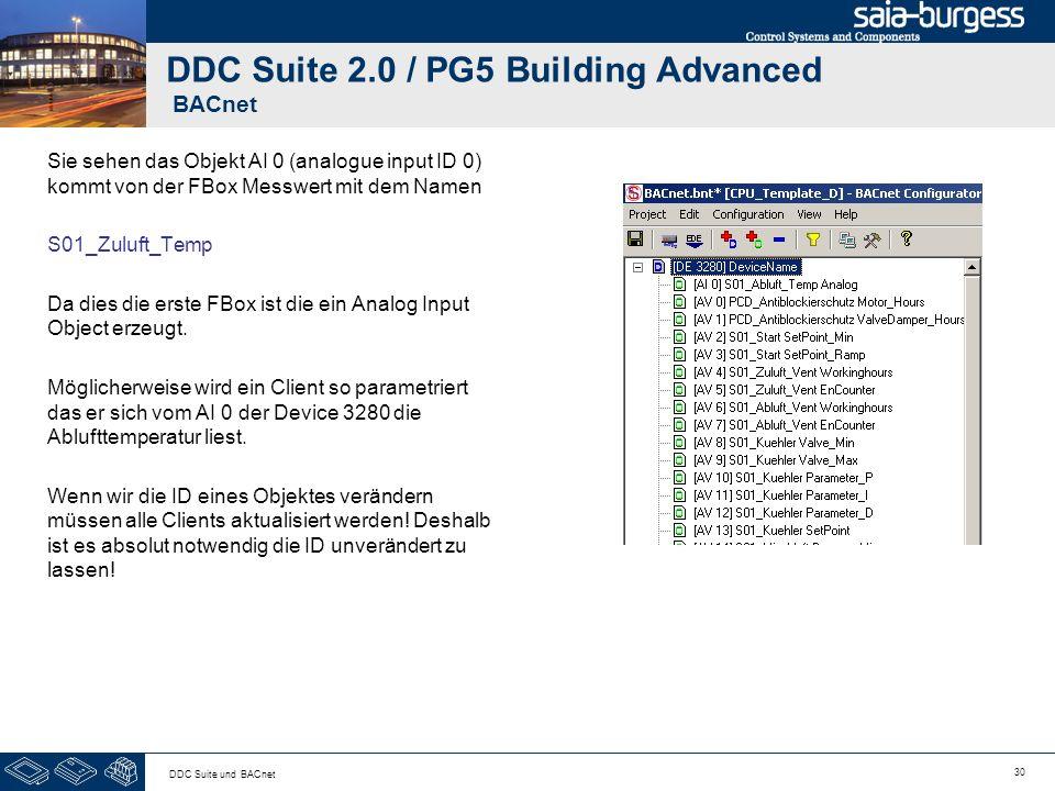 30 DDC Suite und BACnet DDC Suite 2.0 / PG5 Building Advanced BACnet Sie sehen das Objekt AI 0 (analogue input ID 0) kommt von der FBox Messwert mit d