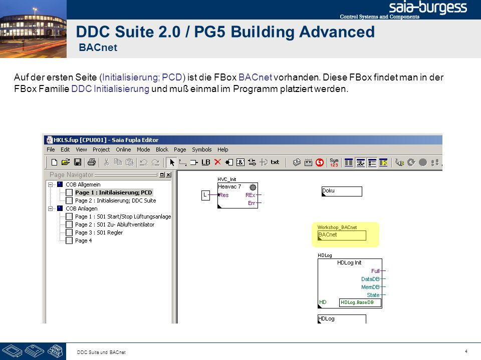 15 DDC Suite und BACnet DDC Suite 2.0 / PG5 Building Advanced BACnet Beispiel FBox Motor1 (Commandable object)