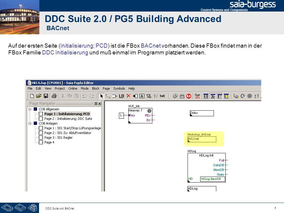 4 DDC Suite und BACnet DDC Suite 2.0 / PG5 Building Advanced BACnet Auf der ersten Seite (Initialisierung; PCD) ist die FBox BACnet vorhanden. Diese F