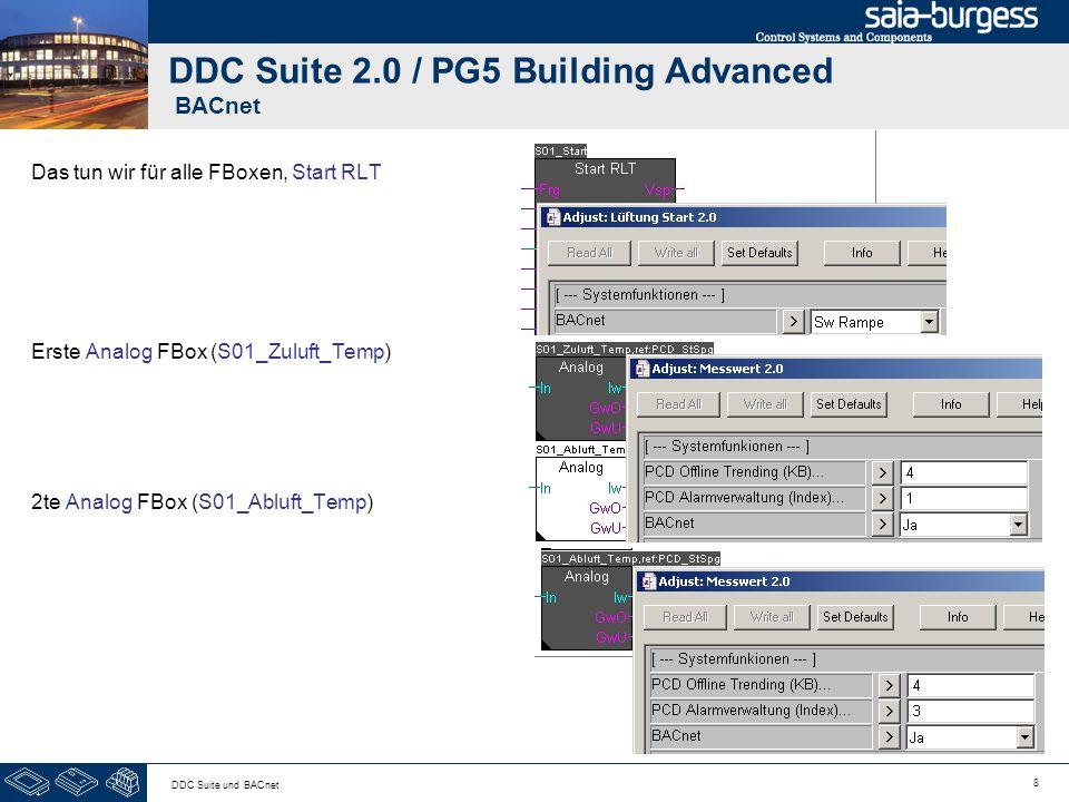 8 DDC Suite und BACnet DDC Suite 2.0 / PG5 Building Advanced BACnet Das tun wir für alle FBoxen, Start RLT Erste Analog FBox (S01_Zuluft_Temp) 2te Ana