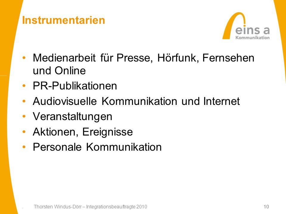 10. Thorsten Windus-Dörr – Integrationsbeauftragte 201010 Instrumentarien Medienarbeit für Presse, Hörfunk, Fernsehen und Online PR-Publikationen Audi