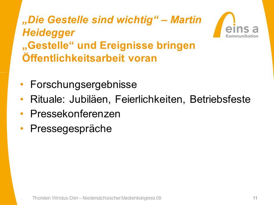 11. Thorsten Windus-Dörr – Niedersächsischer Medienkongress 0911 Die Gestelle sind wichtig – Martin Heidegger Gestelle und Ereignisse bringen Öffentli