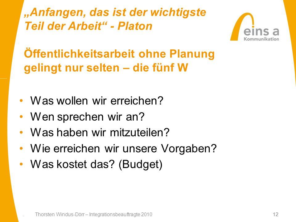 12. Thorsten Windus-Dörr – Integrationsbeauftragte 201012 Anfangen, das ist der wichtigste Teil der Arbeit - Platon Öffentlichkeitsarbeit ohne Planung