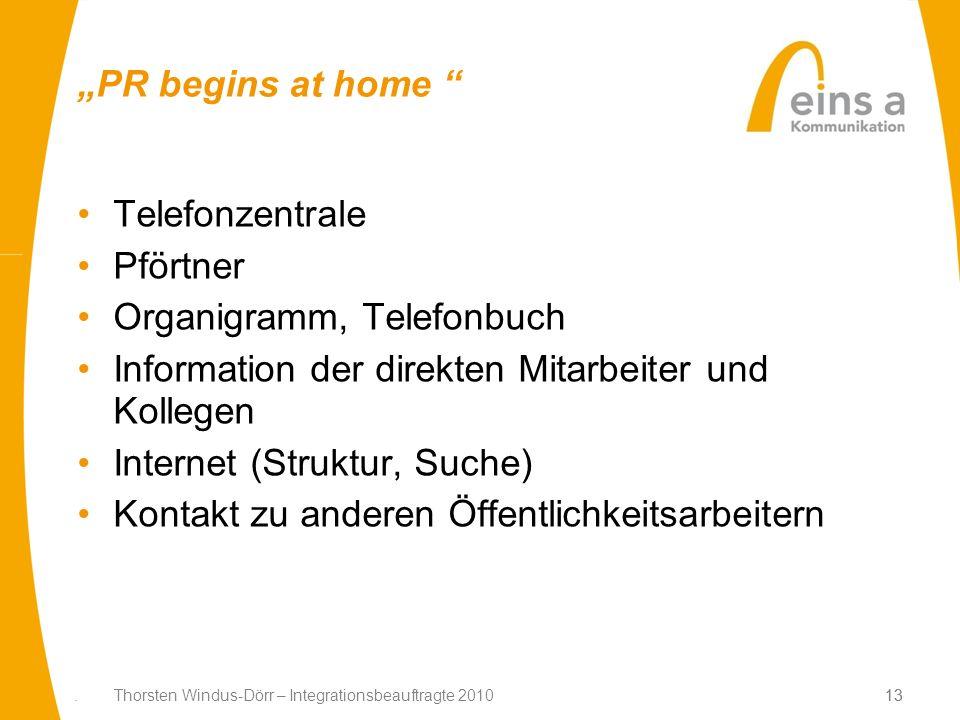 13. Thorsten Windus-Dörr – Integrationsbeauftragte 201013 PR begins at home Telefonzentrale Pförtner Organigramm, Telefonbuch Information der direkten
