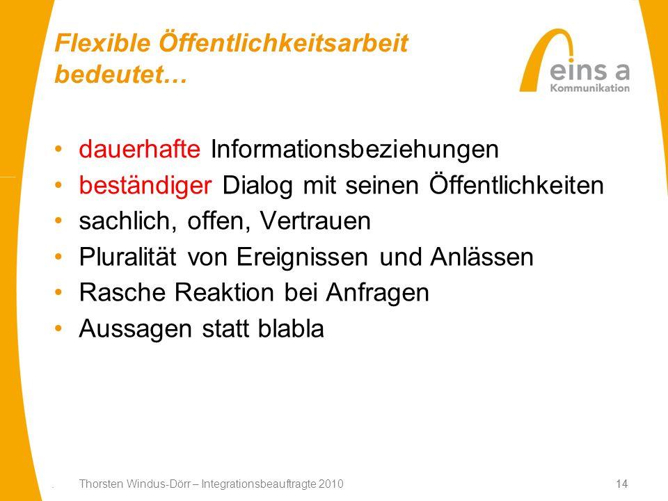 14. Thorsten Windus-Dörr – Integrationsbeauftragte 201014 Flexible Öffentlichkeitsarbeit bedeutet… dauerhafte Informationsbeziehungen beständiger Dial