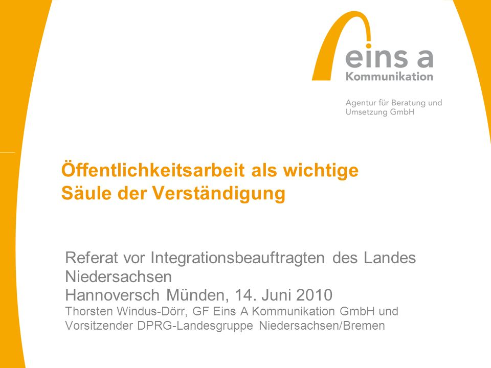 Referat vor Integrationsbeauftragten des Landes Niedersachsen Hannoversch Münden, 14. Juni 2010 Thorsten Windus-Dörr, GF Eins A Kommunikation GmbH und