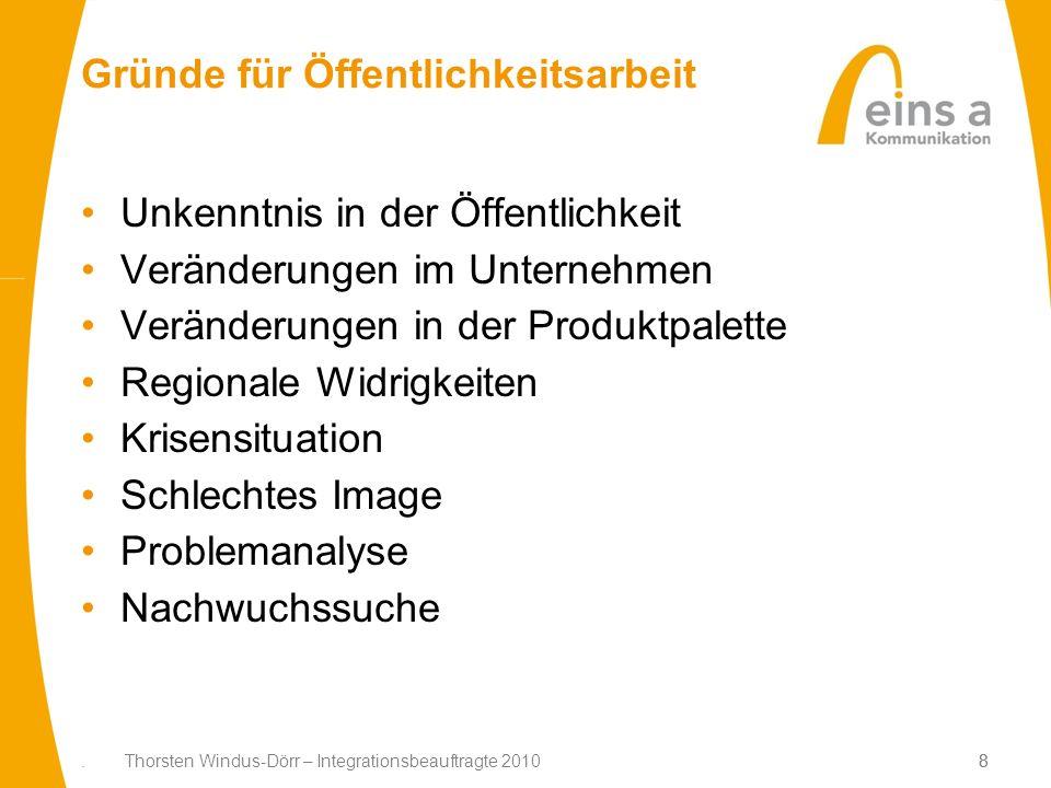 8. Thorsten Windus-Dörr – Integrationsbeauftragte 20108 Gründe für Öffentlichkeitsarbeit Unkenntnis in der Öffentlichkeit Veränderungen im Unternehmen