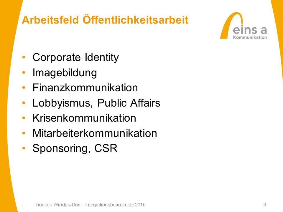 9. Thorsten Windus-Dörr – Integrationsbeauftragte 20109 Arbeitsfeld Öffentlichkeitsarbeit Corporate Identity Imagebildung Finanzkommunikation Lobbyism
