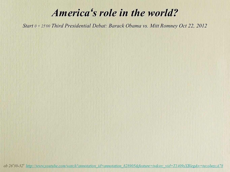 America s role in the world? Start 0 + 25 00 Third Presidential Debat: Barack Obama vs. Mitt Romney Oct 22, 2012 America s role in the world? Start 0