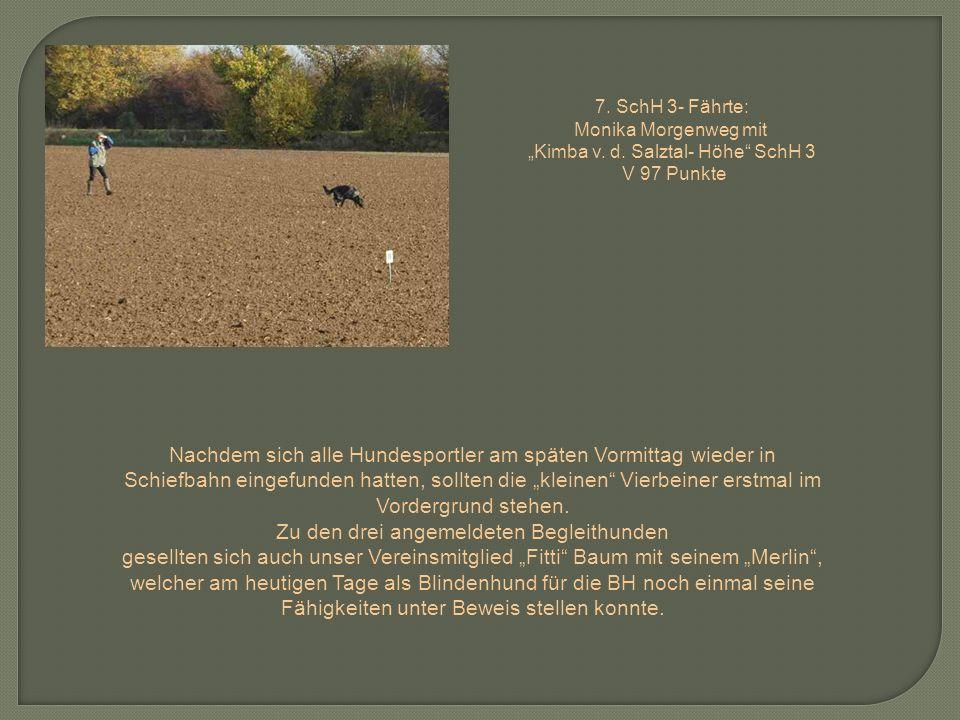 7. SchH 3- Fährte: Monika Morgenweg mit Kimba v. d. Salztal- Höhe SchH 3 V 97 Punkte Nachdem sich alle Hundesportler am späten Vormittag wieder in Sch