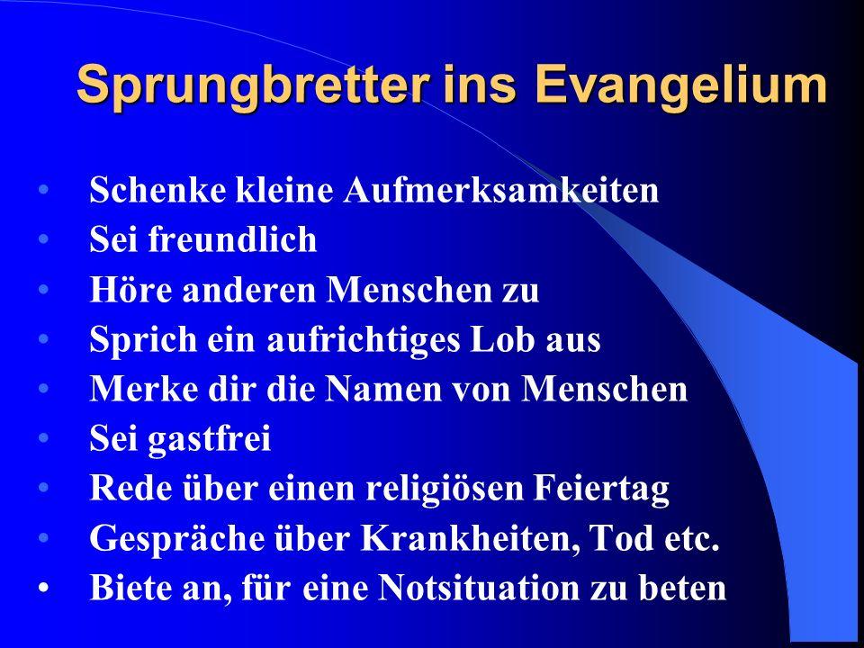 Mut zur Verkündigung des Evangeliums Weil der Herr Jesus Christus gesagt hat, dass wir das Evangelium den Menschen verkündigen sollen.