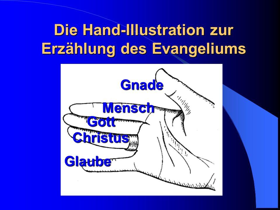 Die Hand-Illustration zur Erzählung des Evangeliums Gnade Mensch Gott Christus Glaube