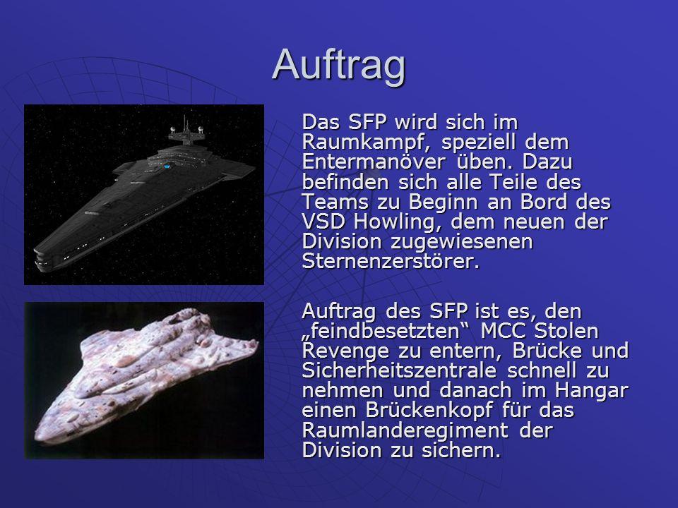 Auftrag Das SFP wird sich im Raumkampf, speziell dem Entermanöver üben.