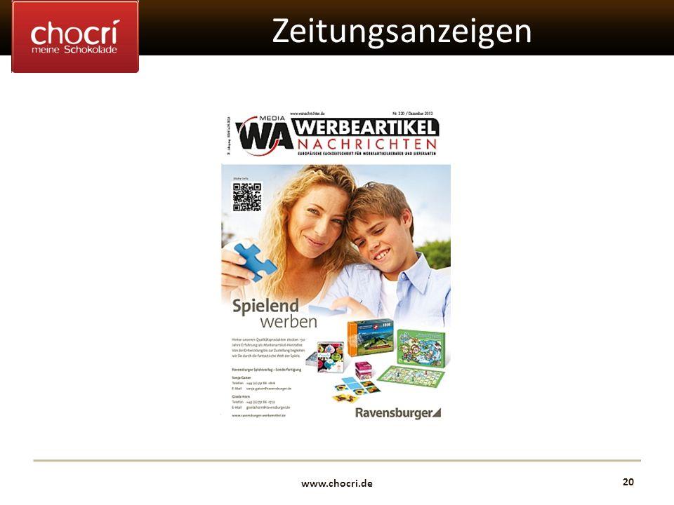 www.chocri.de 20 Zeitungsanzeigen