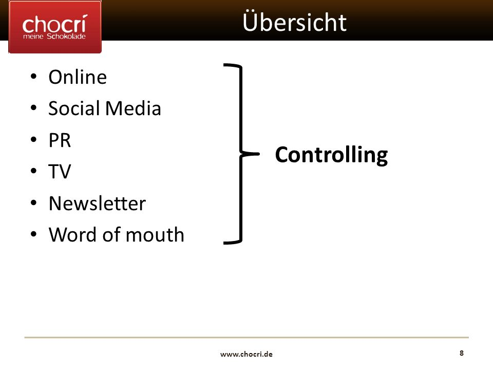 www.chocri.de 8 Übersicht Online Social Media PR TV Newsletter Word of mouth Controlling