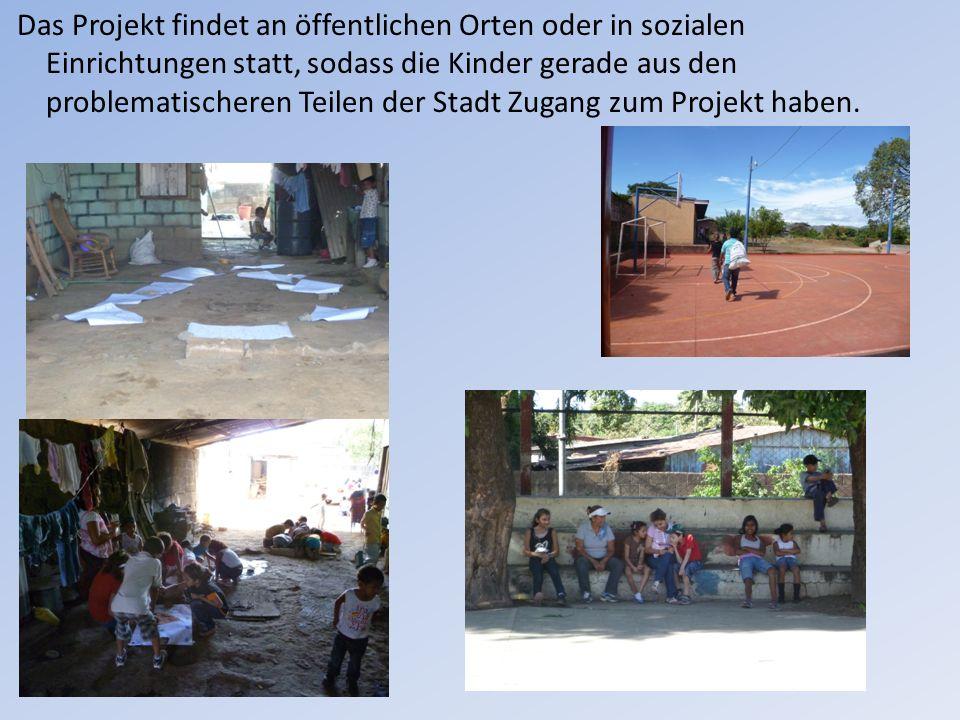 Das Projekt findet an öffentlichen Orten oder in sozialen Einrichtungen statt, sodass die Kinder gerade aus den problematischeren Teilen der Stadt Zugang zum Projekt haben.