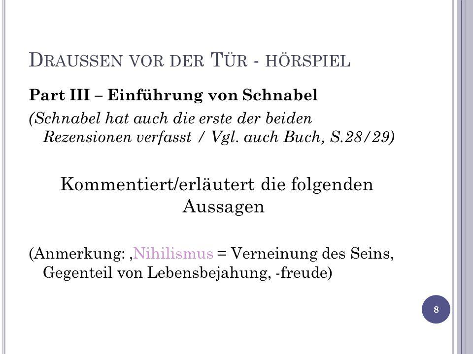 D RAUSSEN VOR DER T ÜR - HÖRSPIEL Part III – Einführung von Schnabel (Schnabel hat auch die erste der beiden Rezensionen verfasst / Vgl.