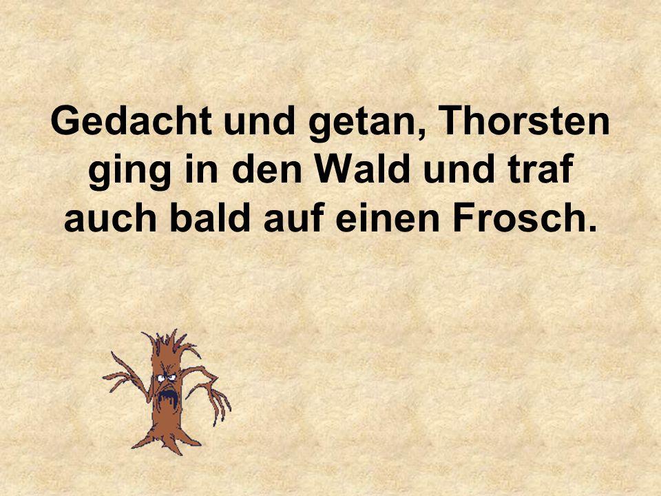 Gedacht und getan, Thorsten ging in den Wald und traf auch bald auf einen Frosch.