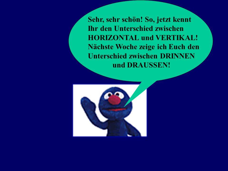 Sehr, sehr schön! So, jetzt kennt Ihr den Unterschied zwischen HORIZONTAL und VERTIKAL! Nächste Woche zeige ich Euch den Unterschied zwischen DRINNEN