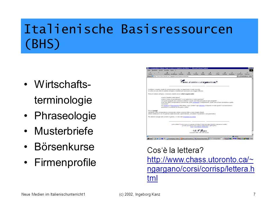 Neue Medien im Italienischunterricht1(c) 2002, Ingeborg Kanz7 Italienische Basisressourcen (BHS) Wirtschafts- terminologie Phraseologie Musterbriefe B