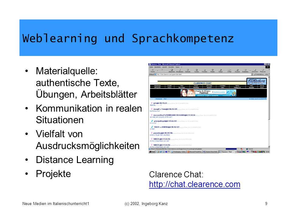 Neue Medien im Italienischunterricht1(c) 2002, Ingeborg Kanz9 Weblearning und Sprachkompetenz Materialquelle: authentische Texte, Übungen, Arbeitsblät