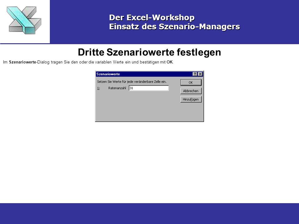 Dritte Szenariowerte festlegen Der Excel-Workshop Einsatz des Szenario-Managers Im Szenariowerte-Dialog tragen Sie den oder die variablen Werte ein und bestätigen mit OK.