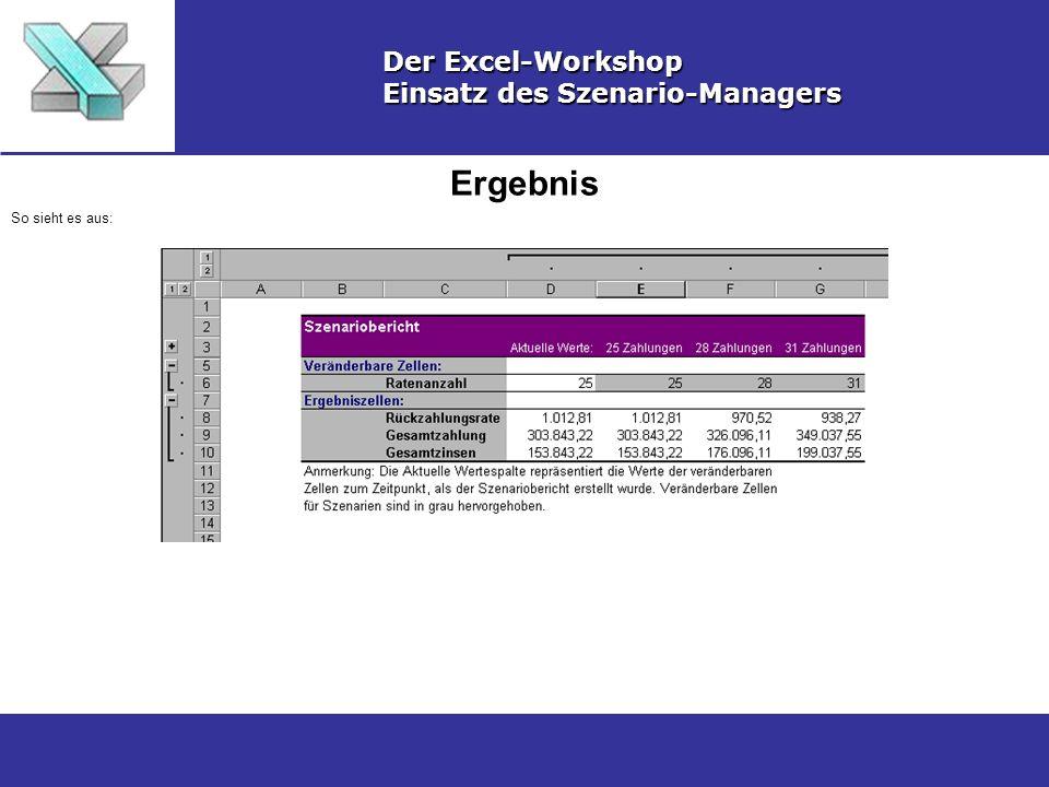 Ergebnis Der Excel-Workshop Einsatz des Szenario-Managers So sieht es aus: