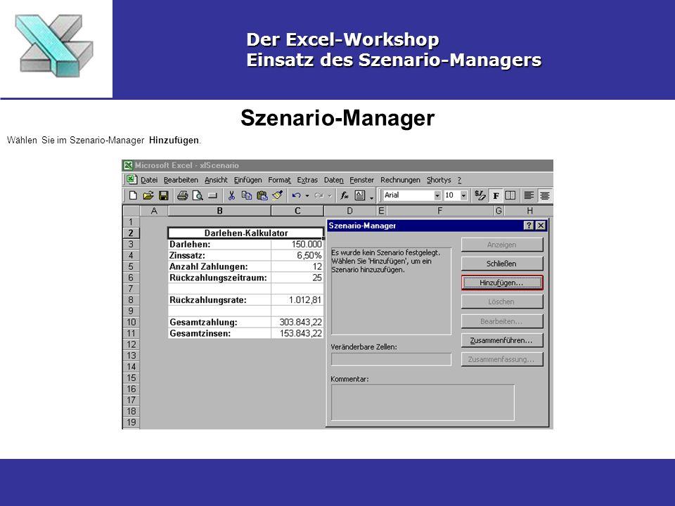 Szenario-Manager Der Excel-Workshop Einsatz des Szenario-Managers Wählen Sie im Szenario-Manager Hinzufügen.