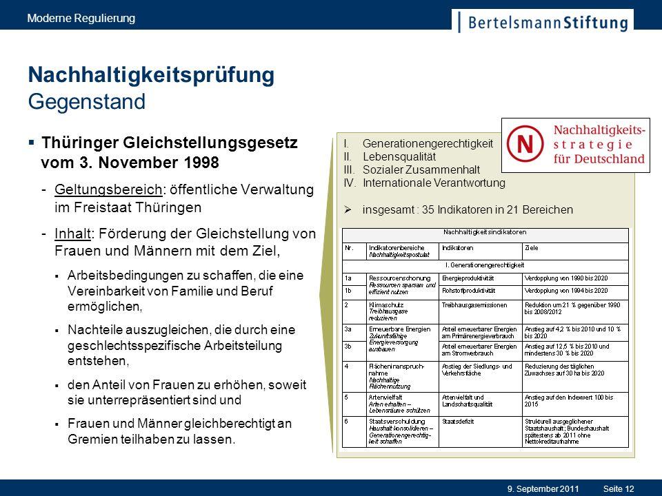 Nachhaltigkeitsprüfung Gegenstand Thüringer Gleichstellungsgesetz vom 3.