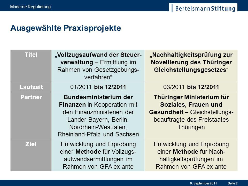 9. September 2011Seite 2 Ausgewählte Praxisprojekte Moderne Regulierung TitelVollzugsaufwand der Steuer- verwaltung – Ermittlung im Rahmen von Gesetzg