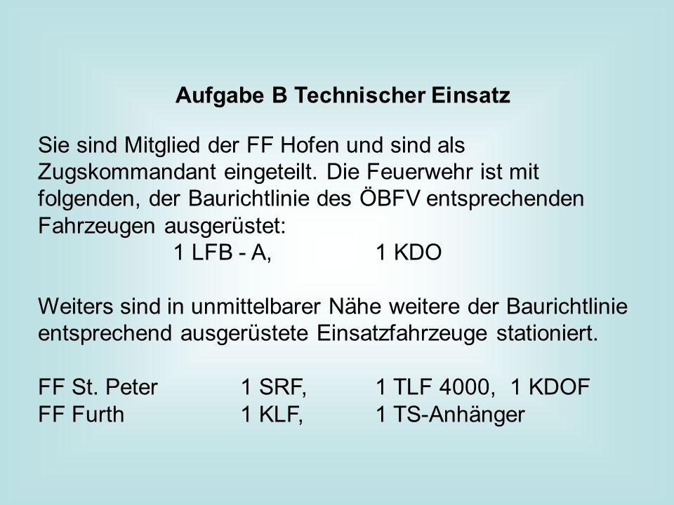 Aufgabe B Technischer Einsatz Sie sind Mitglied der FF Hofen und sind als Zugskommandant eingeteilt.