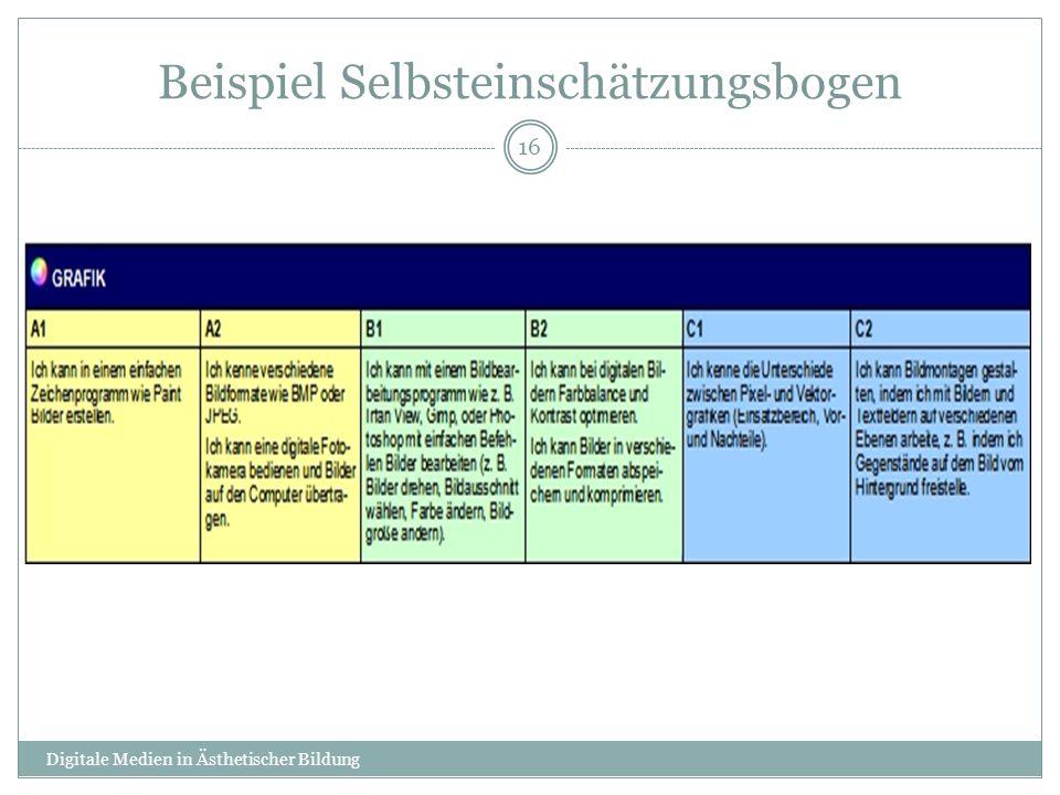Beispiel Selbsteinschätzungsbogen Digitale Medien in Ästhetischer Bildung 16
