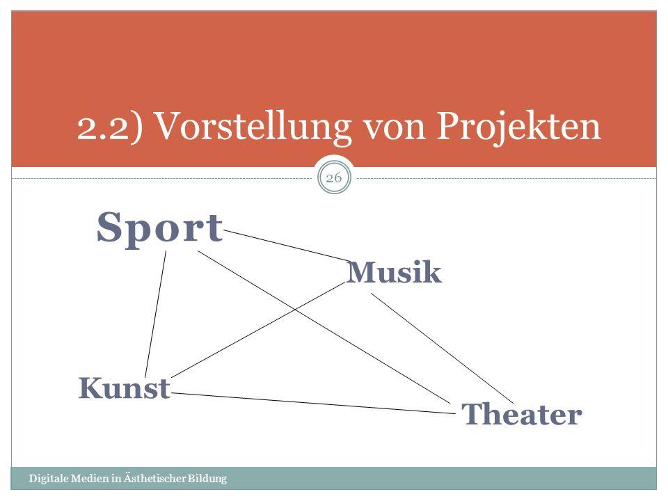 Sport Digitale Medien in Ästhetischer Bildung 26 2.2) Vorstellung von Projekten Musik Kunst Theater