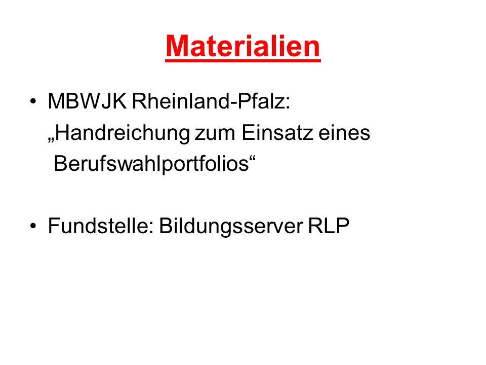 Materialien MBWJK Rheinland-Pfalz: Handreichung zum Einsatz eines Berufswahlportfolios Fundstelle: Bildungsserver RLP