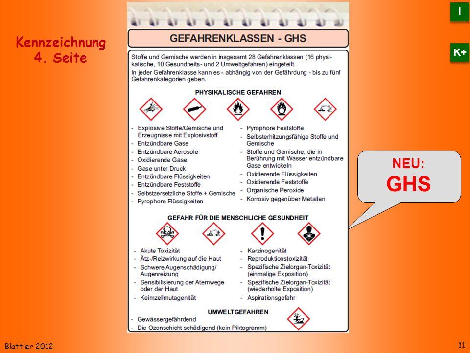 Blattler 2012 NEU: GHS 11 Kennzeichnung 4. Seite I I K+